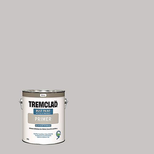 TREMCLAD Water-Based Rust Paint Primer In Grey, 3.78 L
