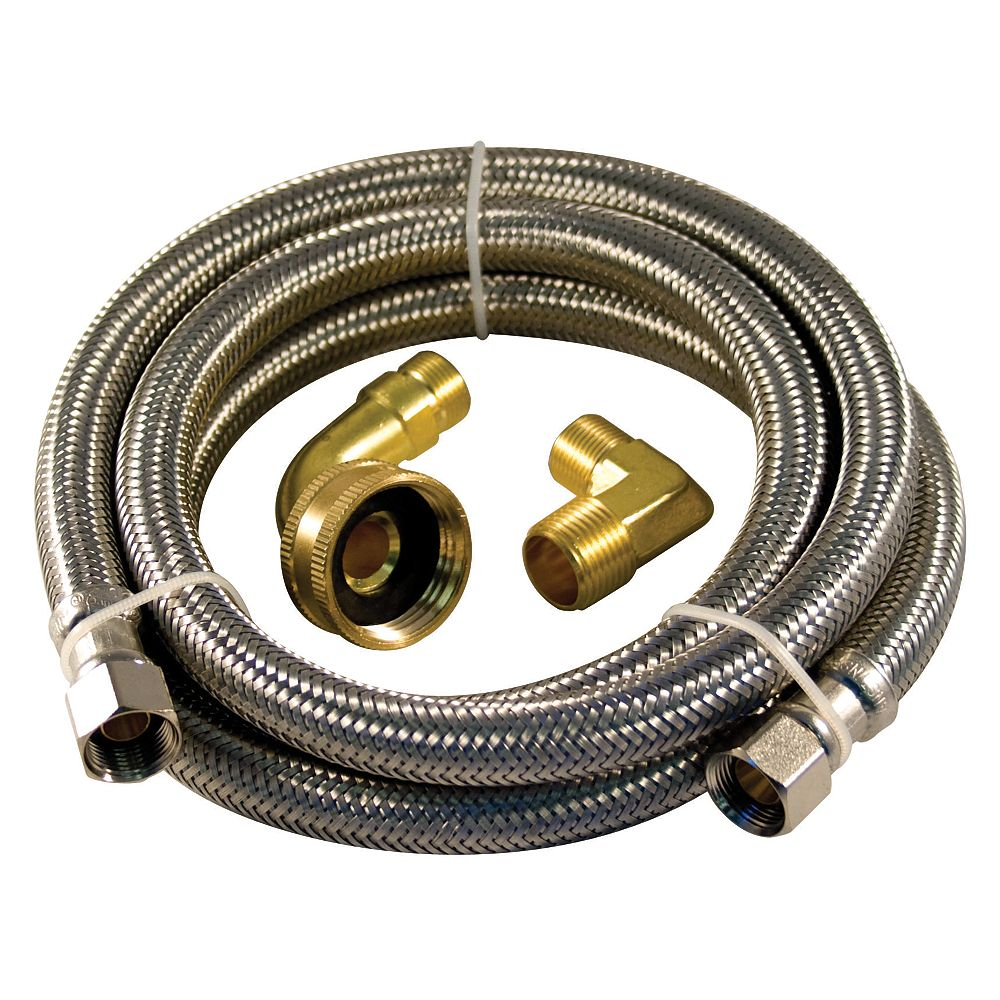 Aqua Dynamic Flex Connector Ss 48i Dishwasher Kit Two Elbow Lead Free The Home Depot Canada