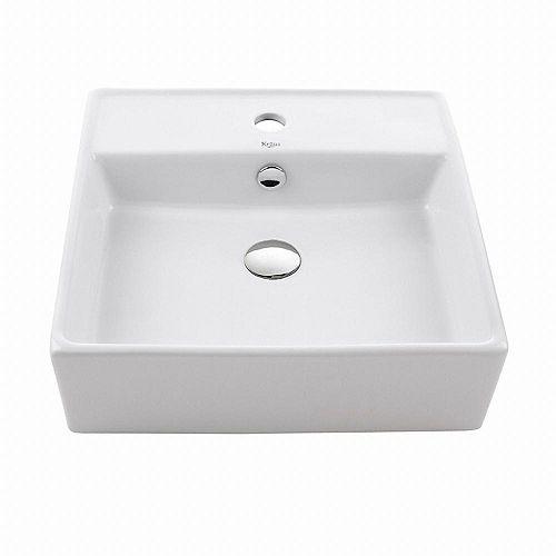 Lavabo carré blanc en céramique