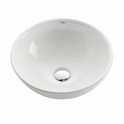 Lavabo rond blanc en céramique