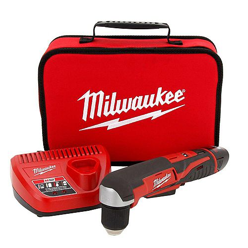 M12 12V Lithium-Ion Cordless 3/8 -Inch Right-Angle Drill W/(1) 1.5Ah Battery, Charger & Tool Bag