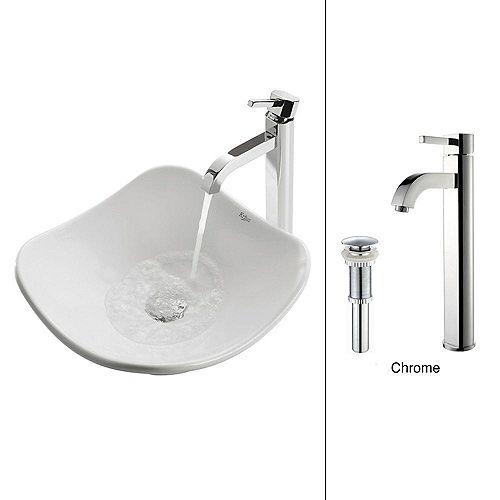 Kraus Tulip 15.80-inch x 12.50-inch x 15.40-inch Irregular Ceramic Bathroom Sink with Ramus Faucet