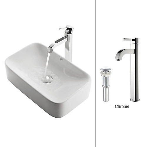 19.44-inch x 12.50-inch x 11.84-inch Rectangular Ceramic Bathroom Sink with Ramus Faucet in Chrome