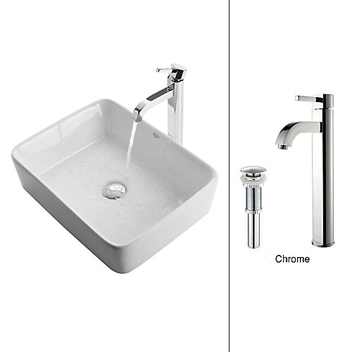 19.20-inch x 12.50-inch x 15.20-inch Rectangular Ceramic Bathroom Sink with Ramus Faucet in Chrome