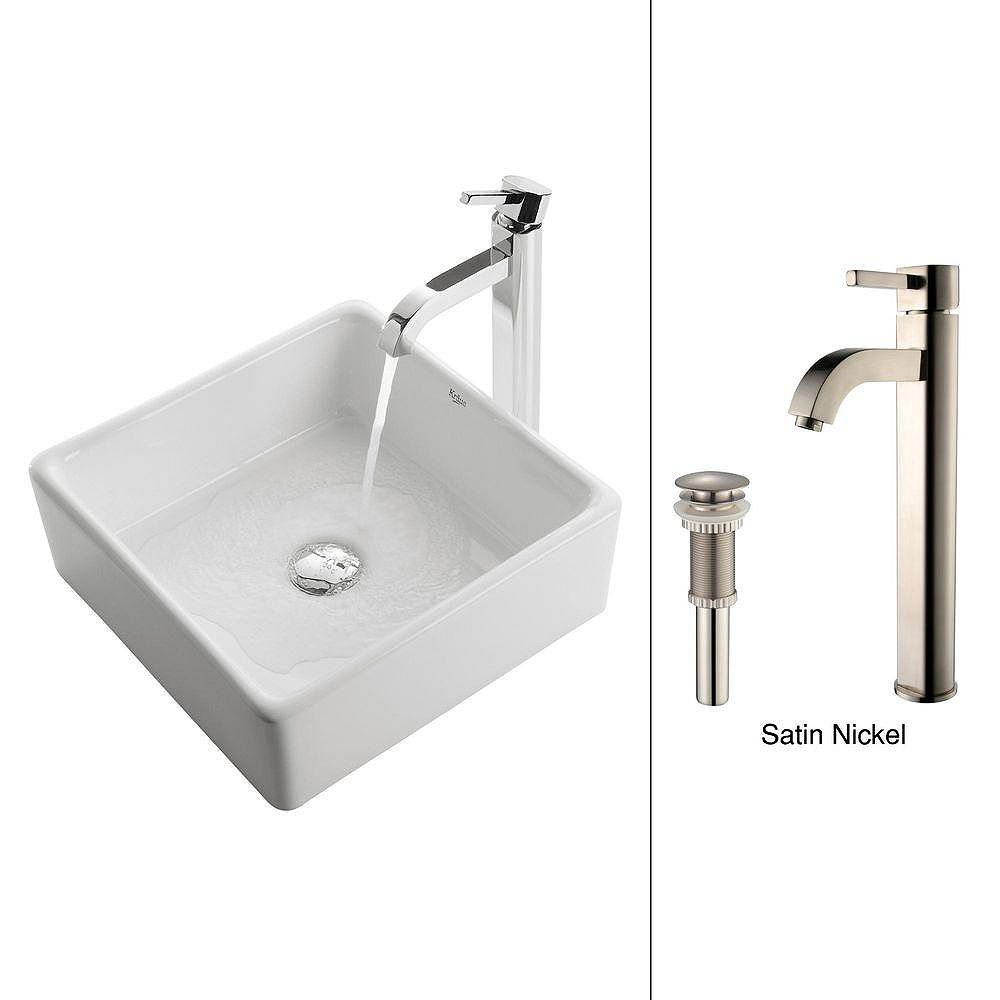 Kraus 15.20-inch x 12.50-inch x 15.20-inch Square Ceramic Bathroom Sink with Ramus Faucet in Satin Nickel