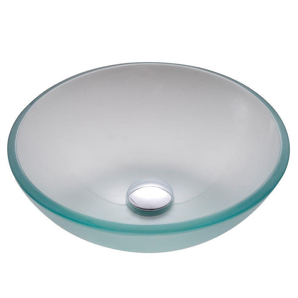 Kraus 14-inch x 5.5-inch x 14-inch Circular Glass Bathroom Sink with Drain in Chrome