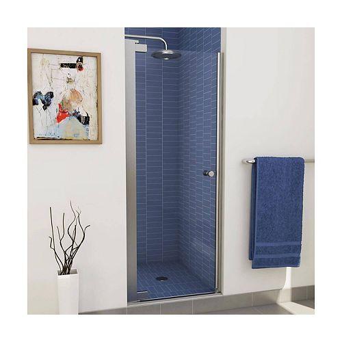 Insight 24-1/2 - 26-1/2 x 67 po. Porte de douche à pivot sans cadre, fini chrome avec verre clair