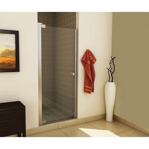 Insight 31-1/2 - 33-1/2 x 67 po. Porte de douche à pivot sans cadre, fini chrome avec verre clair