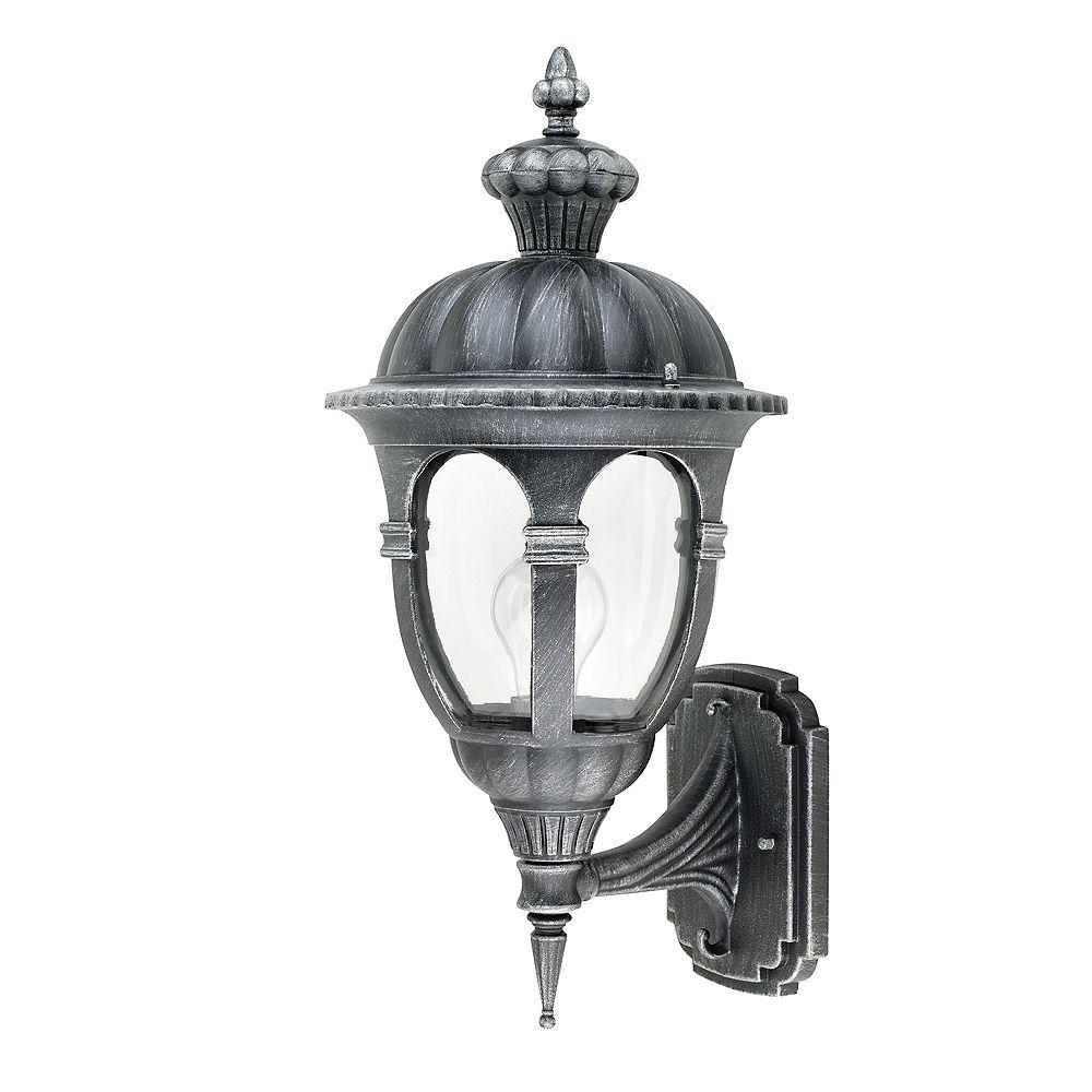Hampton Bay Lanterne Murale Galicia 20'', Montage Vers Le Haut, Fini Argent Antique, Verre Clair. Ampoule A19 100W (Non-inclus)