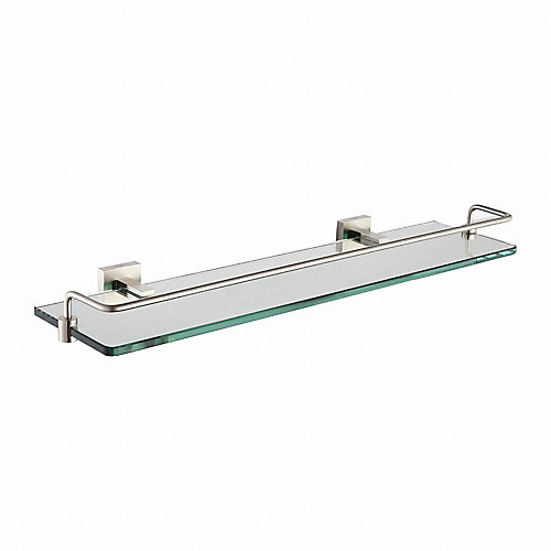 Aura Bathroom Accessories - Shelf with Railing Brushed Nickel