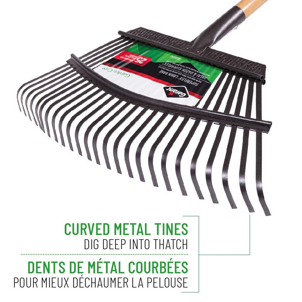 Garant Garden Care 18-inch Lawn Rake, Steel Tines, Hardwood Handle