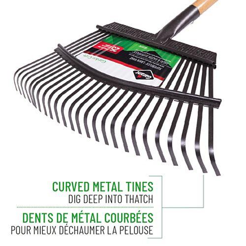 Garden Care 18-inch Lawn Rake, Steel Tines, Hardwood Handle