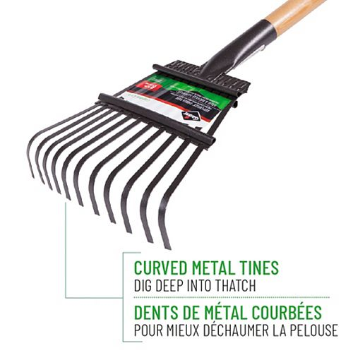 Garant Garden Care 8-inch Shrub Rake, Steel Tines, Hardwood Handle