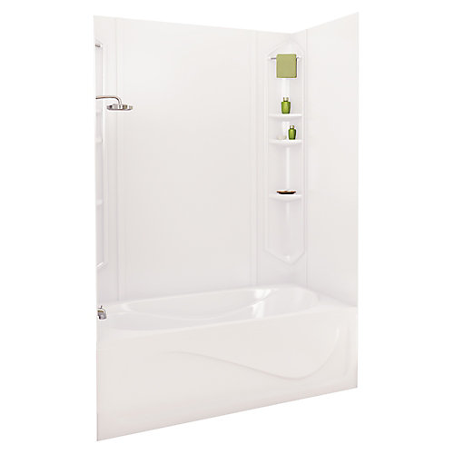 Margarita 73 pouces -Contour de baignoire en acrylique blanc