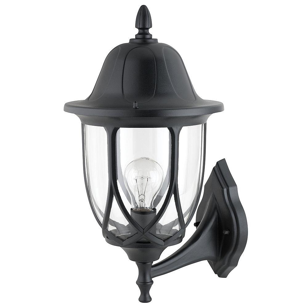 Hampton Bay Lanterne Sierra 17'', Montage Vers Le Haut, Fini Noir, Verre Clair. Ampoule A19 100W (Non-Inclus)