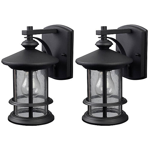 Ryder 1 Light Black Wall Lantern - (2-Pack), Seeded Glass