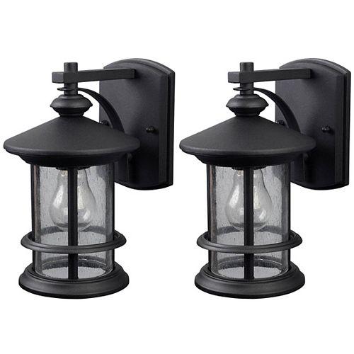 Ryder 13 Single Light Black Wall Lantern, Seeded Glass 2pk