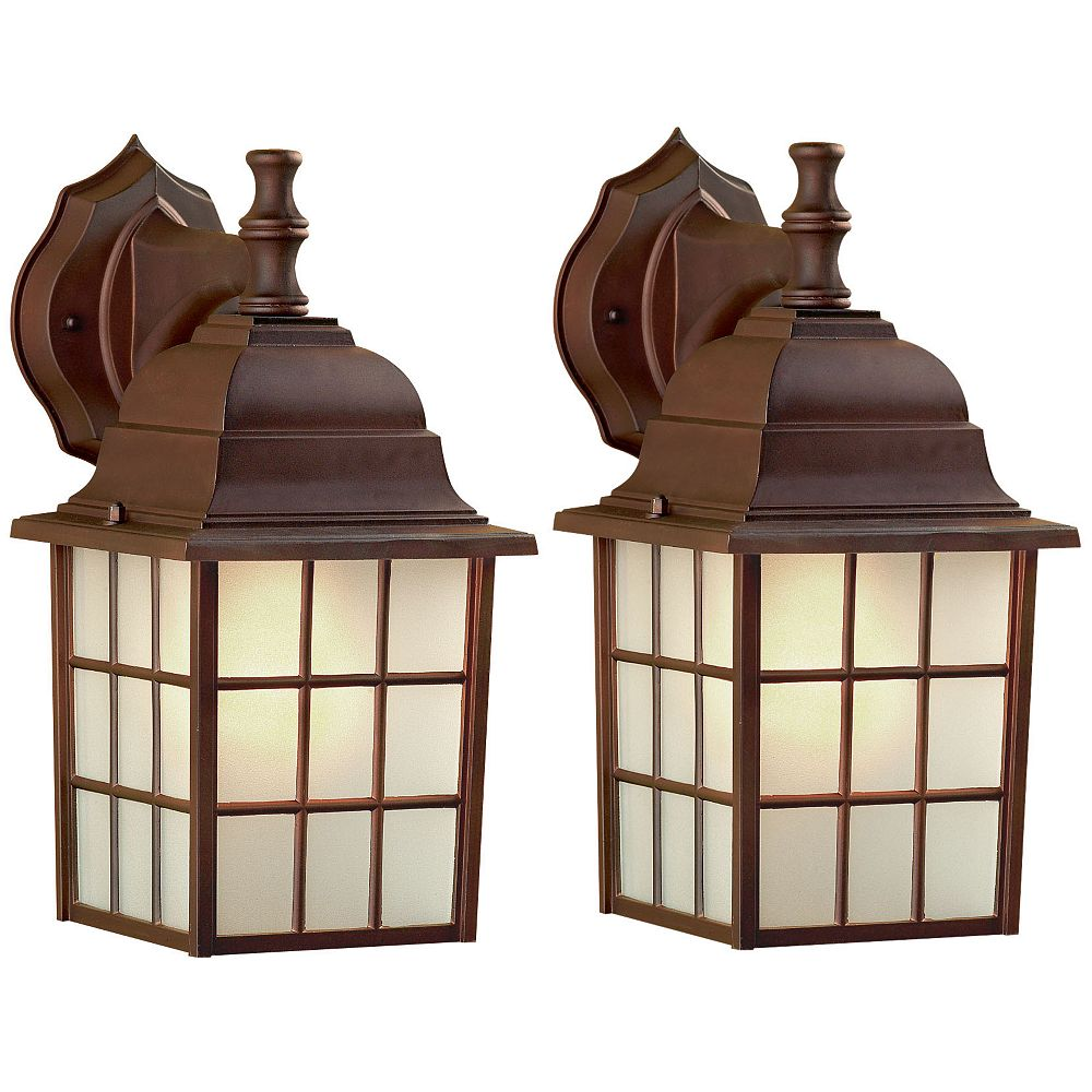 Canarm Colton 1 Light ORB Wall Lantern - (2-Pack), Frosted Glass