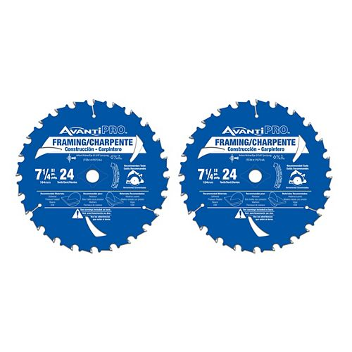 7 1/4-inch x 24 Tooth Carbide Tipped Framing Circular Saw Blade for Wood Cutting (2 Pack)