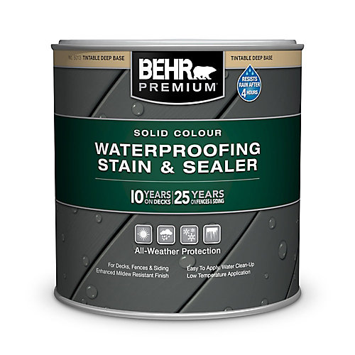 PREMIUM Solid Colour Deck, Fence & Siding Weatherproofing Wood Stain, Deep Base, 215 mL