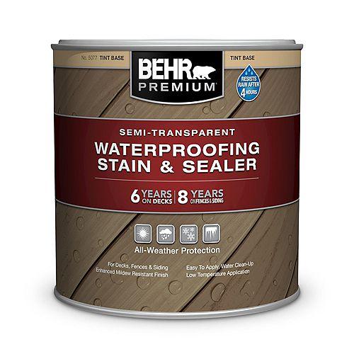 Behr Premium Semi-Transparent Waterproofing Stain & Sealer - Tint Base No. 5077, 237mL
