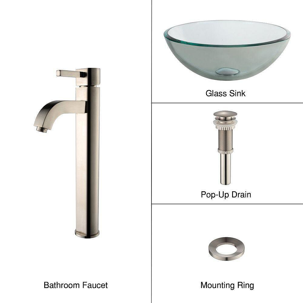 Kraus 14-inch x 12.50-inch x 14-inch 1-Hole Circular Glass Bathroom Sink with Ramus Faucet in Satin Nickel