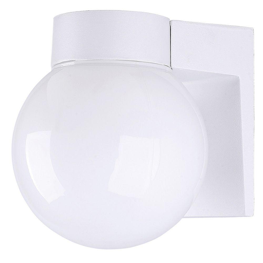 Canarm Amelia 1 Light White Energy Star Wall Lantern, Opal Glass