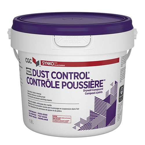 Dust Control Drywall Compound, Ready-Mixed, 1.8 L Pail