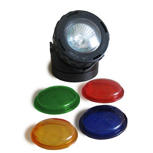 Projecteur halogène -       10 watts - avec lentilles colorés    pour bassin / fontaine