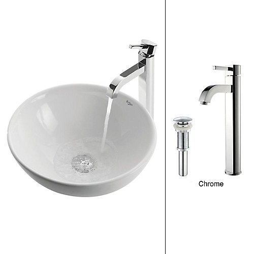 16-inch x 12.50-inch x 16-inch 1-Hole Circular Ceramic Bathroom Sink with Ramus Faucet in Chrome