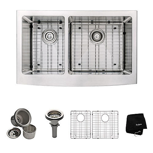 Farmhouse Apron Front Stainless Steel 33-inch Double Bowl Kitchen Sink Kit in Stainless Steel