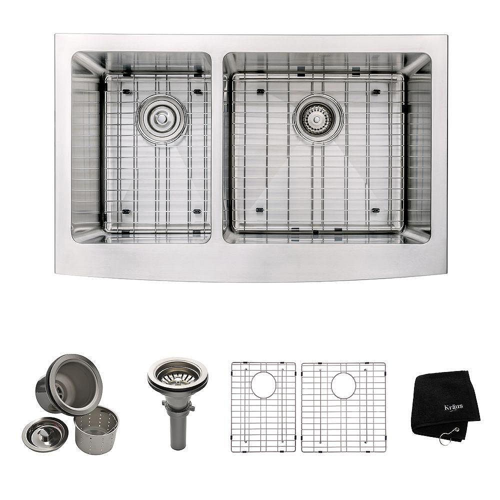 Kraus Farmhouse Apron Front Stainless Steel 33-inch Double Bowl Kitchen Sink Kit in Stainless Steel