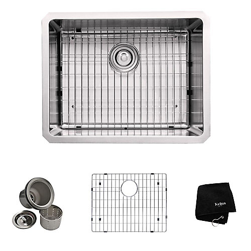 23 Inch Undermount Single Bowl 16 gauge Stainless Steel Kitchen Sink