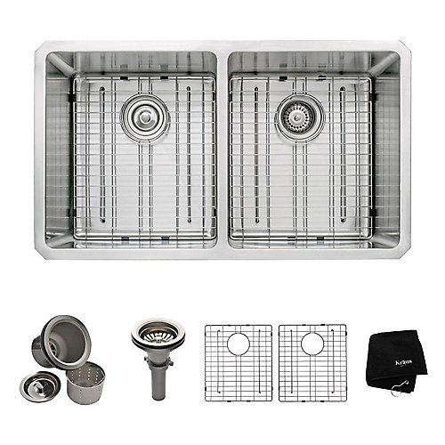 Undermount Stainless Steel 33-inch 50/50 Double Bowl Kitchen Sink Kit