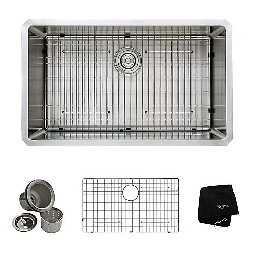 16 Gauge Stainless Steel 32-inch Single Bowl Undermount Kitchen Sink