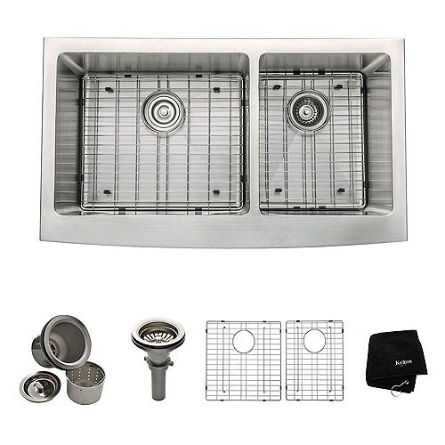 Farmhouse Apron Front Stainless Steel 36-inch Double Bowl Kitchen Sink Kit