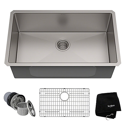 30-inch Single Bowl Undermount Kitchen Sink in 16 Gauge Stainless Steel