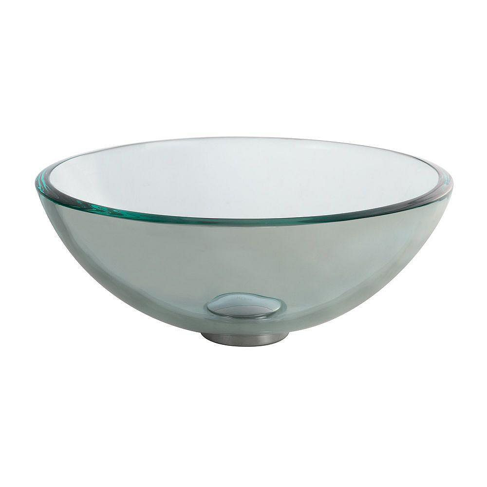 Kraus 14-inch x 5.5-inch x 14-inch Circular Glass Bathroom Sink