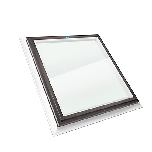 2ft x 2ft Fixed Self Flashing LoE3 Double Glazed Clear Glass Skylight with Brown Frame