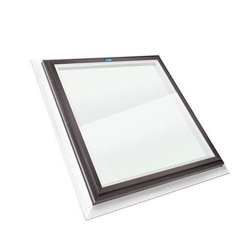 Puits de Lumière 2pi x 2pi Fixe, Solin Intégré verre transparent LoE3 trempée avec cadre brun