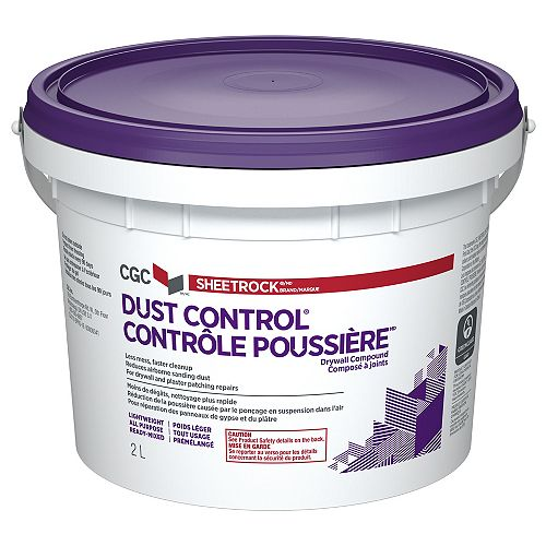 Dust Control Drywall Compound, Ready-Mixed, 2 L Pail