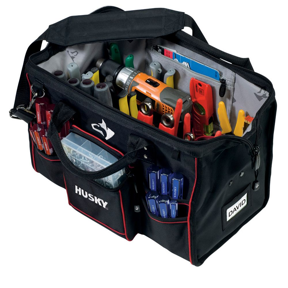 Husky 18-inch Large Mouth Tool Bag with Tool Wall