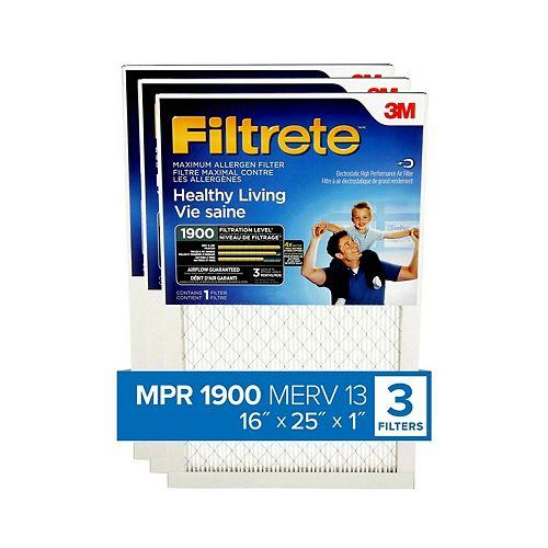 3-Pack 16-inch x 25-inch x 1-inch Healthy Living MPR 1900 Maximum Allergen Furnace Filter