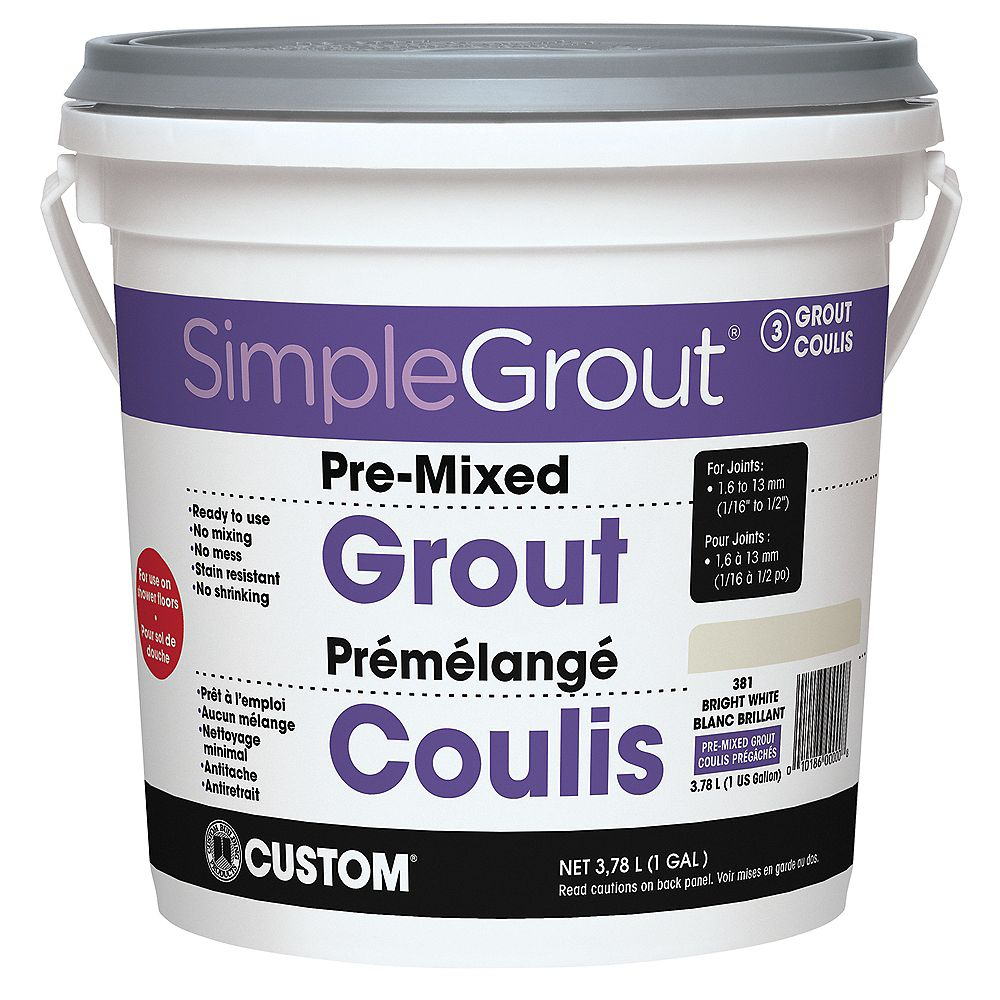 Custom Building Products #381 Bright White - Pre-Mixed Grout 3.9L