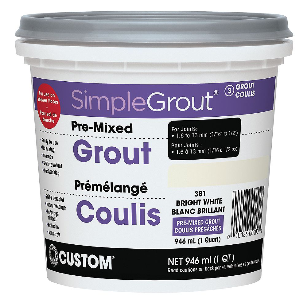 Custom Building Products #381 Bright White - Pre-Mixed Grout .946L