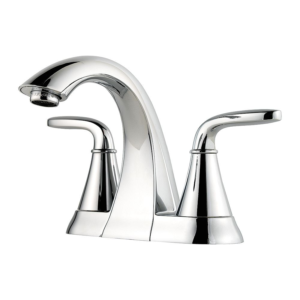 Pfister Pasadena Centerset (4-inch) 2-Handle Mid Arc Bathroom Faucet in Chrome with Lever Handles