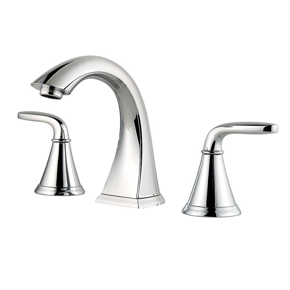 Pfister Pasadena Widespread (8-inch) 2-Handle Mid Arc Bathroom Faucet in Chrome with Lever Handles