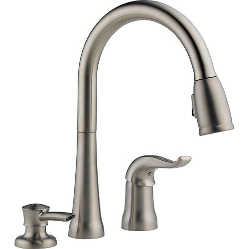 Kate Single-Handle Pull-Down Sprayer Kitchen Faucet with MagnaTite Docking and Soap Dispenser in Stainless steel