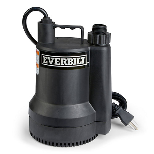 Pompe utilitaire submersible portable 1/6 HP