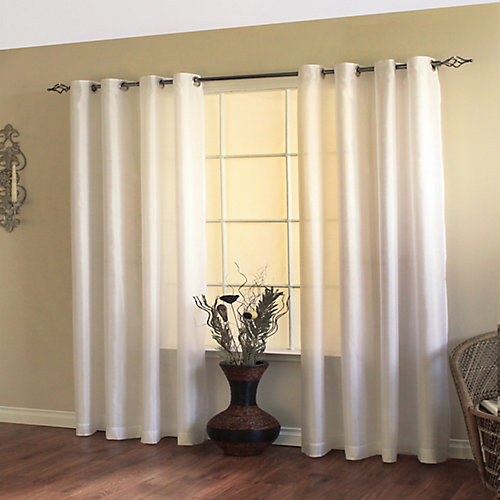 Milano Light Filtering Grommet Curtain 54 inches width X 84 inches length, White